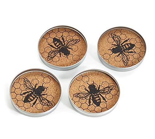 Honeybee メイソンジャー蓋コースター| ハニービー 農家装飾 | メタルとコルクコースターギフトセット | 4個   B07PDT9NDY
