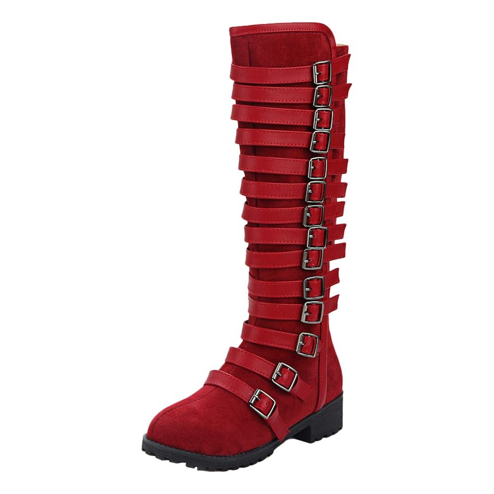 Carolbar Women'S Multi Buckle Zip Knee High Low Heel Riding Tall Boots B01M9HZJDL 4.5 B(M) US|Deep Red