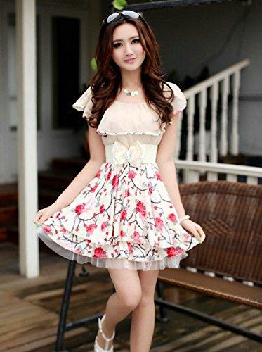 FastFashion レディースファッション上着 プリンセス式シフォン切 花柄 半袖のワンピース