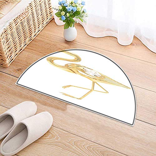 Non Slip Semicircle Rugs Gold Brooch Flamingo Isolated on White Living Dinning Room and Bedroom Rugs W30 x H18 INCH ()