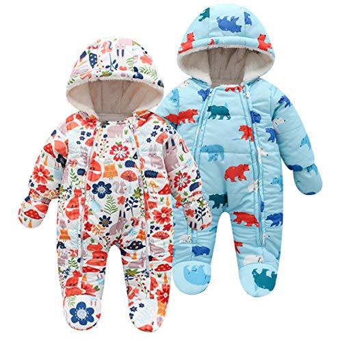 3a55ab72def5c famuka ジャンプスーツ ベビー ロンパース 子ども カバーオール フード付き 防寒アウター ダウンジャケット動物柄 クマ
