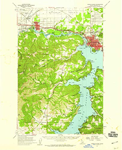 YellowMaps Coeur D Alene ID topo map, 1:62500 Scale, 15 X 15 Minute, Historical, 1957, Updated 1959, 20.9 x 17 in - Tyvek (Rockford Cherry)