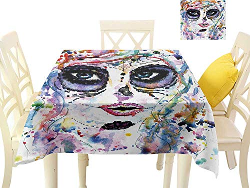 familytaste tablecloths Sugar Skull,Halloween Girl with Sugar Skull Makeup Watercolor Painting Style Creepy Look,Multicolor Dining Table Decorations W 36