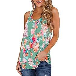 Sumeimiya Womens Floral Print Tank Tops Ladies Summer Fashion Sleeveless Top Casual Comfy Vest Tops Green