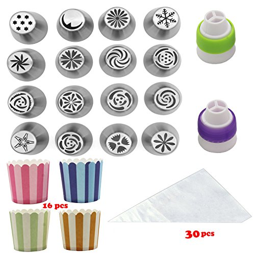 16 Sets Frosted Tips Russian Piping Tips Icing Nozzles, Cake Decorating Supplies, Coming with 16 Cupcake Cups and 30 Large Pastry Bags and Colors Couplers.