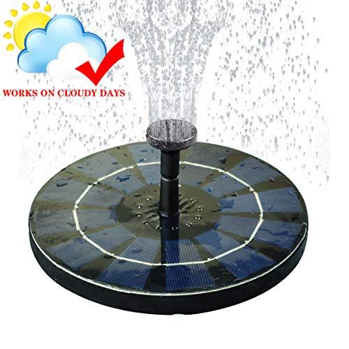 COODIA Solar Bird Bath Fountain Pump with Backup Battery Solar Powered Water Fountain Pump for Bird Bath Garden Pond Pool Outdoor, 2.5W Solar Panel ()