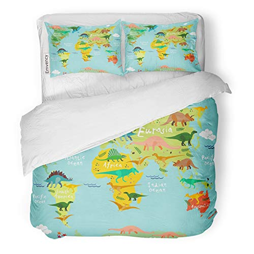 Emvency Decor Duvet Cover Set Twin Size Skeleton Dinosaurs Map of The World for Children and Kids Cute Australia Ocean 3 Piece Brushed Microfiber Fabric Print Bedding Set Cover