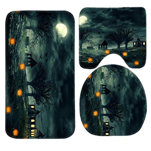 Halloween Night Pumpkin Bath Mat Set,3 Piece Bathroom Mats Set Non-Slip Bathroom Rugs/Contour Mat/Toilet Cover by TEYAYA