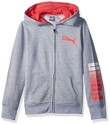 PUMA Big Girls' Full Zip Hoodie, Light Heather Grey, Large (12/14) by PUMA