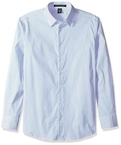 D & Jones Men's CrownLux Performance Micro Windowpane Shirt, French Blue/WHT, M ()