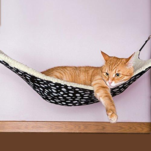 Pecute Small Pet Animal Cat Kitty Hanging Ferret Hammock Polka Dot Design Bed Bunk Sleep Pad (Large)