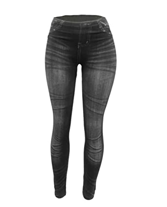 0df9d38fa38f1 CLOYA Women's Denim Print Fake Jeans Seamless Full Length Fleece ...
