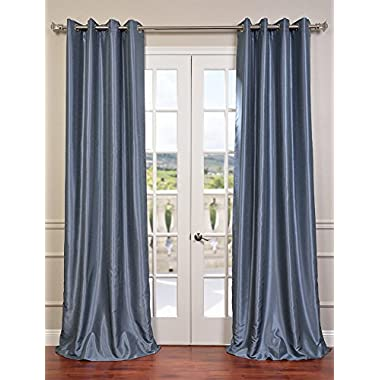 Half Price Drapes PDCH-KBS18-96-GRBO Grommet Blackout Vintage Textured Faux Dupioni Silk Curtain, Provencial Blue
