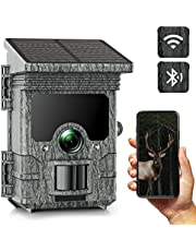 Solar Powered Trail Camera WiFi 24MP 2K Bluetooth Hunting Game Camera with 120°PIR Range Scouting Camera with Night Vision for Wildlife Monitoring IP66 Waterproof