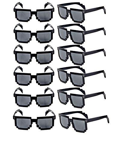 2267c8c029a Ecosco 12pcs 8-Bit Pixel UV Protect Gamer Geek Retro Sunglasses 80s Shutter  Glasses for