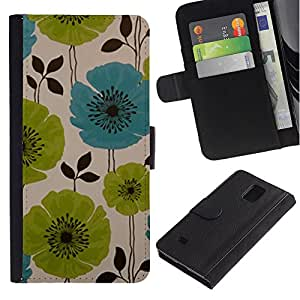 Billetera de Cuero Caso Titular de la tarjeta Carcasa Funda para Samsung Galaxy Note 4 SM-N910 / Drawing Painting Green Blue Art / STRONG