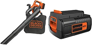BLACK+DECKER 40V MAX Blower/Vacuum with Extra Battery, 2.0-Ah (LSWV36 & LBX2040)
