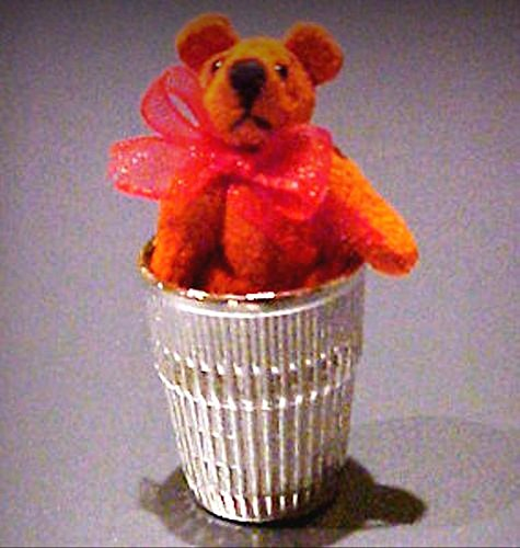 Tiny Orange Suede Thimble Bear World of Miniature Bears Dollhouse Miniatures - My Mini Garden Dollhouse Accessories for Outdoor or House Decor