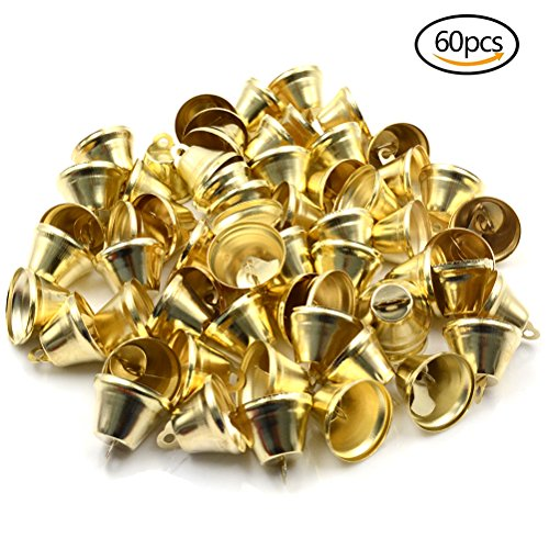 CoscosX 60 Pcs 1 Inch Gold Metal Jingle Bells DIY Arts Crafts Supplies for Home Mall Christmas Festival - Bell Gold Ornament