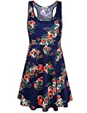 SeSe Code Floral Printed Dresses for Women, Ladies Sleeveless Wide Neck Empire Waist Form Fitting Flare Hemline Outfits Elastic Fabric Yoga Tank Swing Fashionable Summer Leisure Sundress Navy Blue M