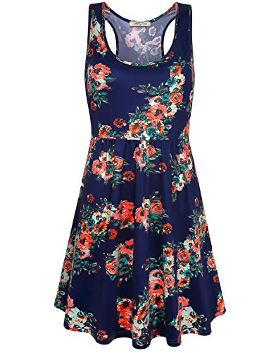 SeSe Code Floral Printed Dresses for Women, Ladies Sleeveless Wide Neck Empire Waist Form Fitting Flare Hemline Outfits Elastic Fabric Yoga Tank Swing Fashionable Summer Leisure Sundress Navy Blue M ()