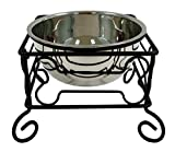 pet stand - YML 10-Inch Black Wrought Iron Stand with Single Stainless Steel Feeder Bowl