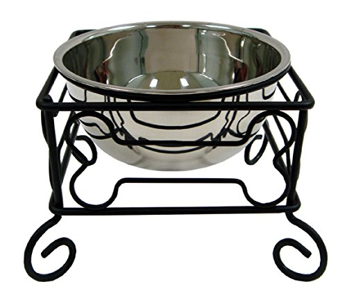 (YML 10-Inch Black Wrought Iron Stand with Single Stainless Steel Feeder Bowl)