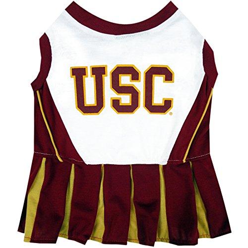 Pets First Collegiate USC Trojans Dog Cheerleader Dress, X-Small (Usc Cheerleader Halloween Costume)
