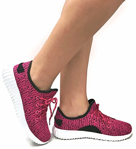 The Collection JILL Womens Athletic Shoes Casual Fashion Breathable Mesh Sneakers, Fuchsia Black, 10