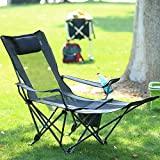 OUTDOOR LIVING SUNTIME Camping Folding Portable Mesh Chair with Removabel Footrest