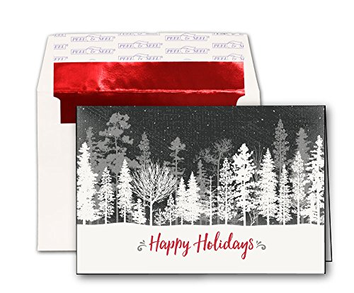 Black & White Winter Trees Holiday Cards - 20 Greeting Cards and Red Foil Lined Peel & Seal Envelopes - Holiday Card Seals