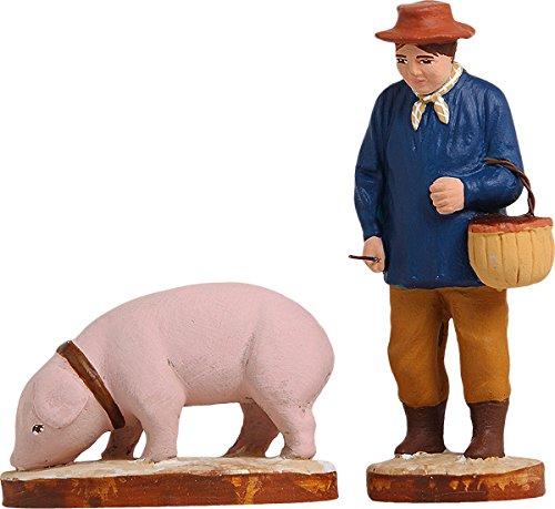 Arterra - Santons de Provence - Rabassier et son cochon - Collection 7 cm