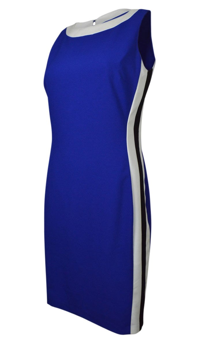 RALPH LAUREN Women's Contrast Side Sleeveless Sheath Dress (16, Cobalt/Black)