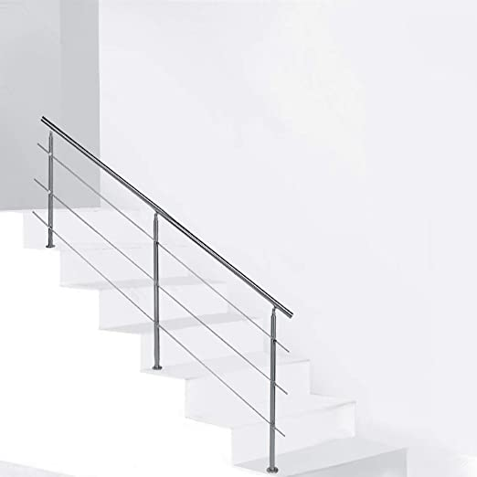 Pasamanos de acero inoxidable, juego de barandilla para escaleras, barandilla para pasamanos de pared para interiores y exteriores, 120 cm, pasamanos escalera, plata: Amazon.es: Hogar