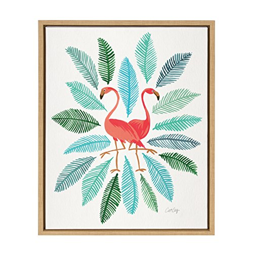 Whimsical Portrait Framed (Kate and Laurel - Sylvie Pink Flamingos in Watercolor Horizontal Framed Canvas Wall Art by Cat Coquillette, Natural 18 x 24)