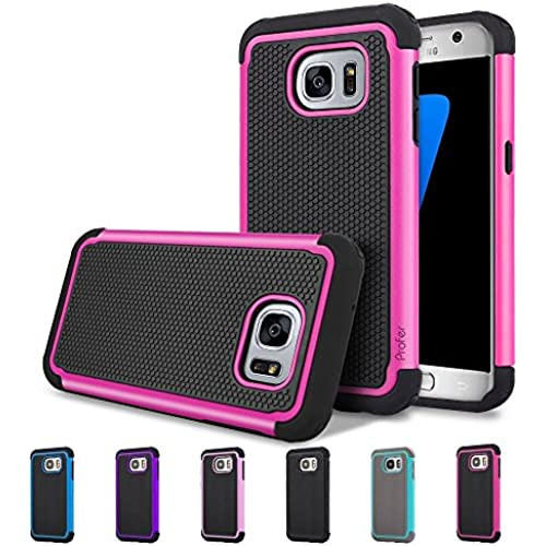 S7 Case, Profer[Dual Layer] [Shock Absorption] Drop Protection Armor Hybrid Defender Protective Case Cover for Samsung Galaxy S7(Hot Pink) Sales