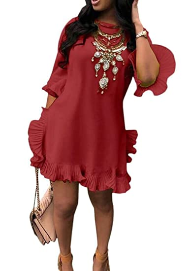 e08e7b3fe178df Amazon.com  Jotebriyo Women s Round Neck Casual Ruffle Irregular 1 2 Sleeve  Mini Dress  Clothing