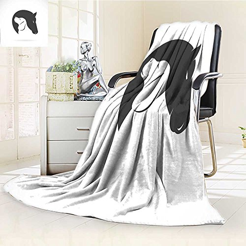 YOYI-HOME Luxury Warm Fuzzy Weighted Bed Duplex Printed Blanket Contemporary of a Dog and Horse Hugging Loyal Friend Icon Heads Artsy Print Black White Camping Blanket /W86.5 x (Horse Head Luxury Chenille)