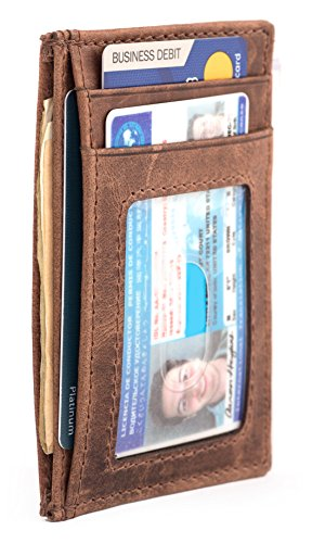 RAWHYD Full Grain Leather Card Wallet With Cash Pocket … (Hunter Brown) ()