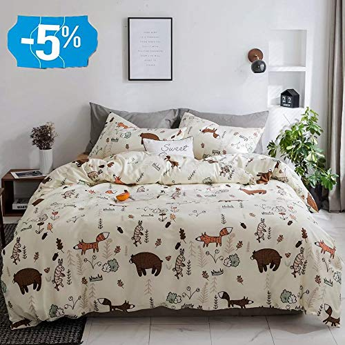 CLOTHKNOW Kids Twin Duvet Cover Sets Cotton Yellow Child Bedding Sets Woodland Bear Theme Girls Boys Gift Fox Animal Forest Bedding 3 Pcs Bed Set with Zipper Closure and 2 Pillowcases