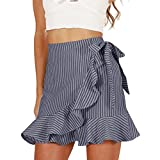 Women's Sexy Stripes Wrapped Flounce Hem Short High Waisted Casual Skirts (S, Black)