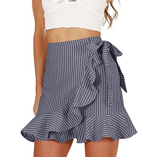 Layered Ruffled High Waisted Mini Skirt Womens Frill Skorts ()