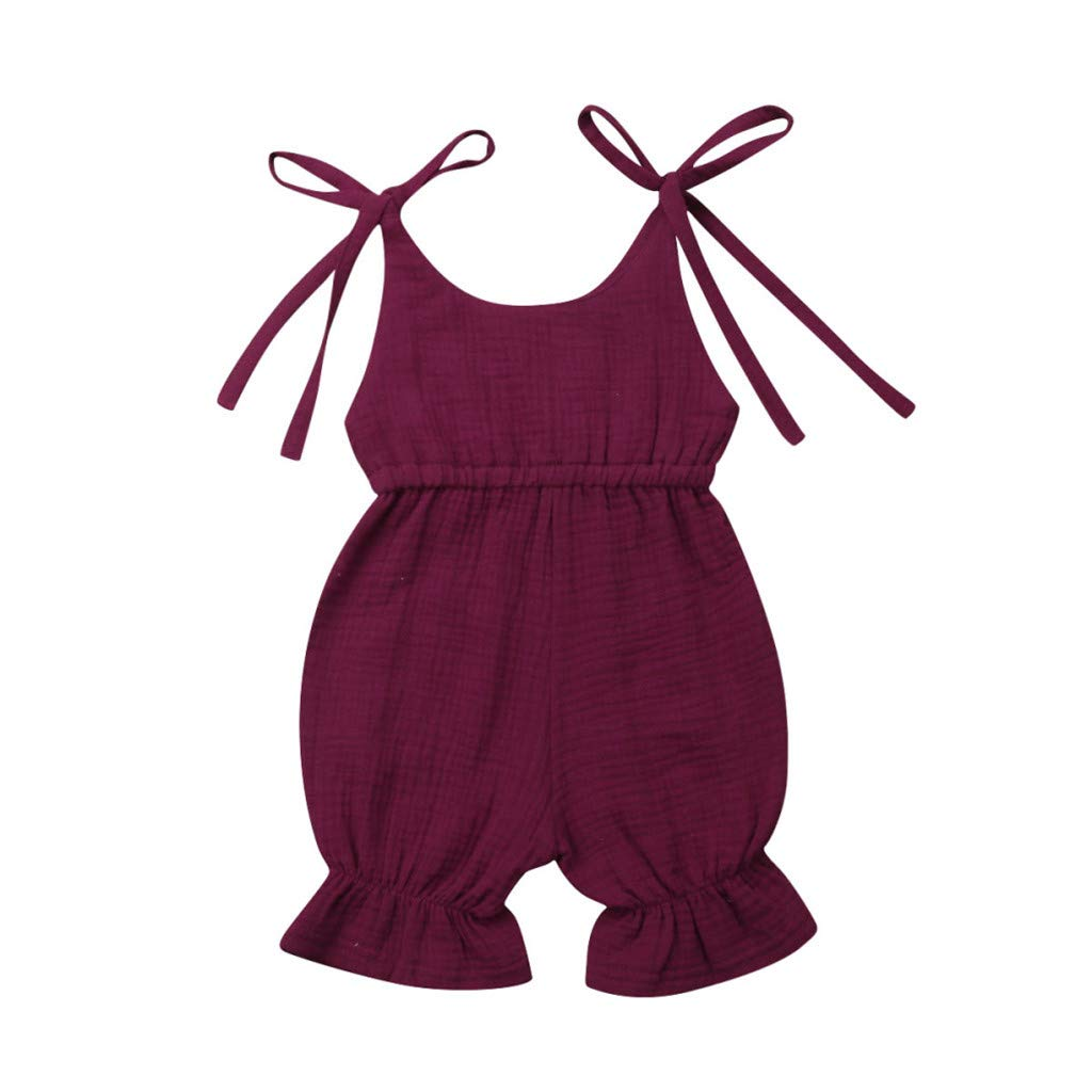 Feitengtd Summer Baby Boys Girls Summer Solid Romper Bodysuit Jumpsuit Outfits Sunsuit (Wine, Recommended Age:18-24 Months)