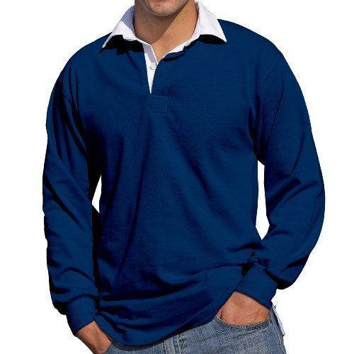 Front Row Mens Long Sleeve Casual Cotton rugby shirt azul marino
