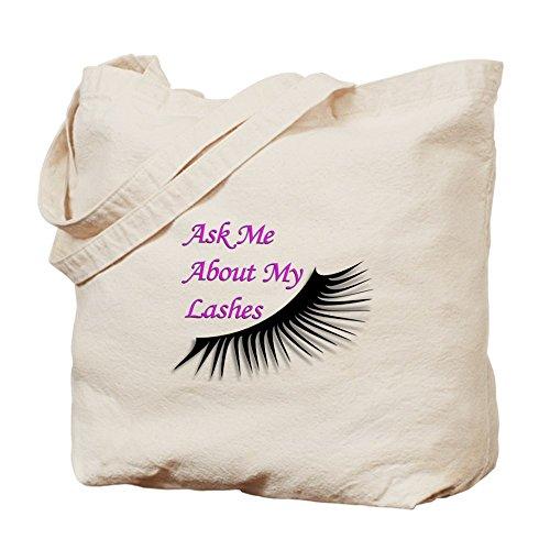 Cafepress–Ask Me About My Lashes–Borsa di tela naturale, tessuto in iuta
