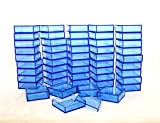 2 By 2 Inch Square Acrylic Bead/Gem Storage Boxes 50 QTY Blue