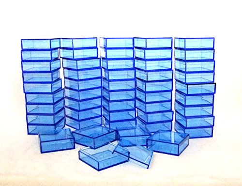 2 By 2 Inch Square Acrylic Bead/Gem Storage Boxes 50 QTY Blue by Tds Online Store