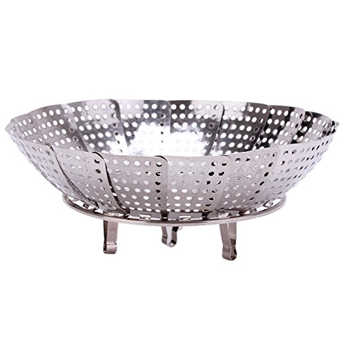 Eaglood Stainless Steel Steamer Plate Silver Magic Retractable Folding Steaming Fruit Plate Disk QW679584 by Eaglood