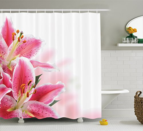 White Lily Florist (Pink and White Shower Curtain by Ambesonne, Florist Theme with Lilies Close Up A Fresh Bouquet for the Loved Ones, Cloth Fabric Bathroom Decor Set with Hooks, 84 Inches Extra Long, Pink Orange Green)