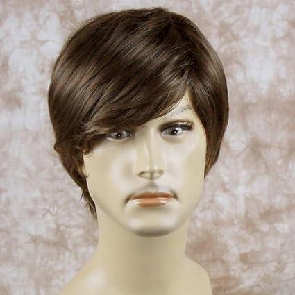 Resistente al calor niveles largo Cool Hombres peluca Pelucas completa para hombre corto luz marrón